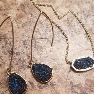 Kendra Scott Blue Drusy necklace